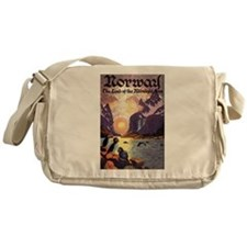 Vintage Travel Poster Norway Messenger Bag