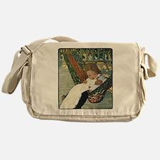 Vintage Girl in Hammock Messenger Bag
