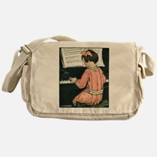 Vintage Child Playing the Piano Messenger Bag