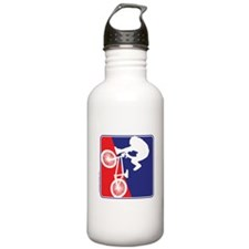 Red White and Blue BMX Bike Rider Water Bottle