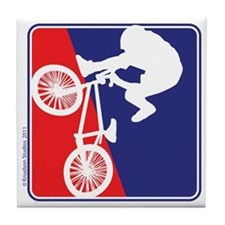 Red White and Blue BMX Bike Rider Tile Coaster
