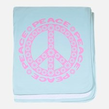 Pink Flower Peace baby blanket