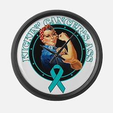 Kickin' Ovarian Cancer's Ass Large Wall Clock
