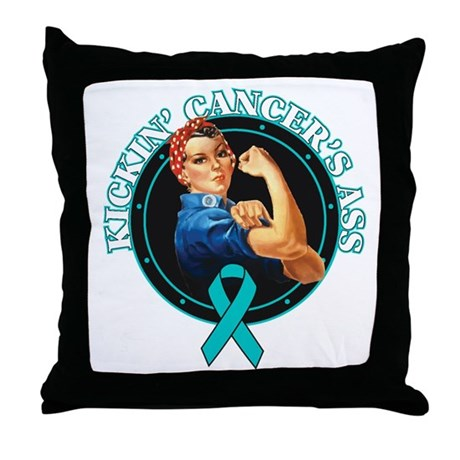 Kickin' Ovarian Cancer's Ass Throw Pillow