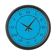 Cyan Linen Look Large Wall Clock