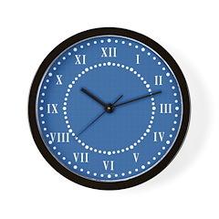Dark Blue Linen Look Wall Clock