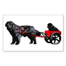 Newf Puppy in Draft Cart Decal