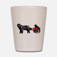 Newf Puppy in Draft Cart Shot Glass