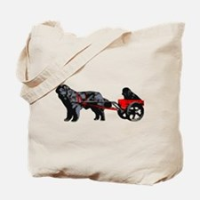 Newf Puppy in Draft Cart Tote Bag