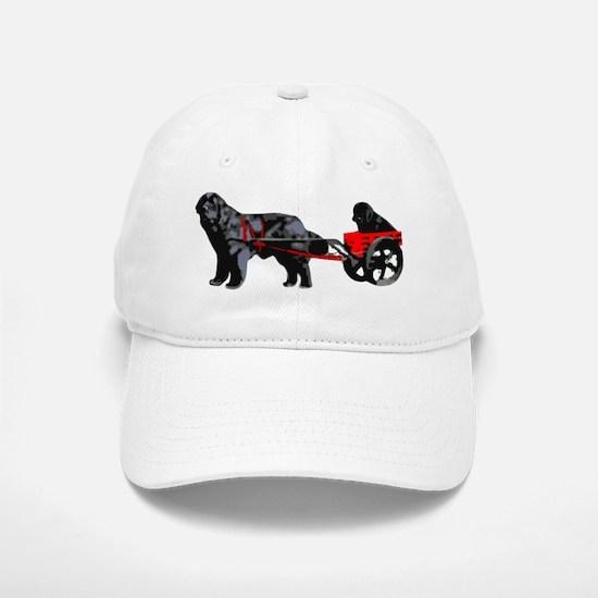 Newf Puppy in Draft Cart Baseball Baseball Cap