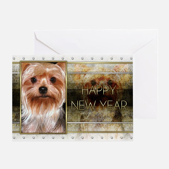 New Year - Golden Elegance - Yorkie Greeting Card