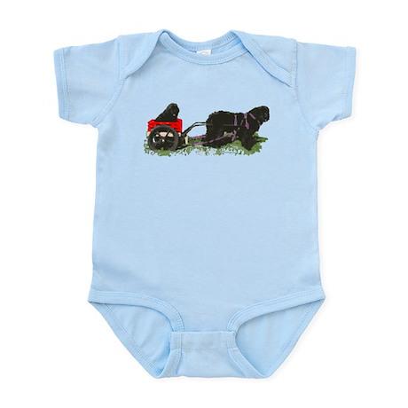 Newf Puppy in Draft Cart Infant Bodysuit