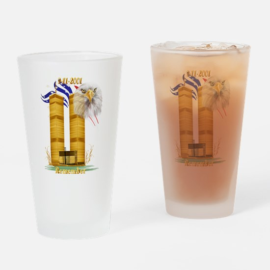 Gold Twin Towers, Eagle n Fla Drinking Glass