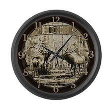 Bull elk face off Large Wall Clock