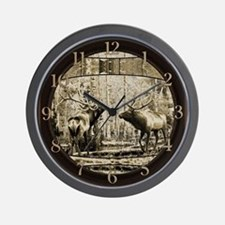 Bull elk face off Wall Clock