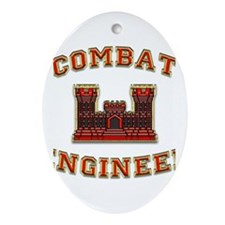 US Army Combat Engineer Castl Ornament (Oval)