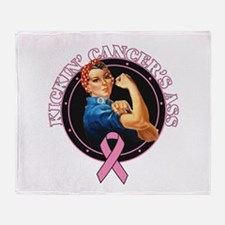 Kickin Breast Cancer's Ass Throw Blanket