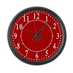 Red Linen Look Large Wall Clock