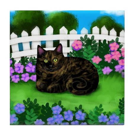 Tortoiseshell Cat Garden Tile Coaster