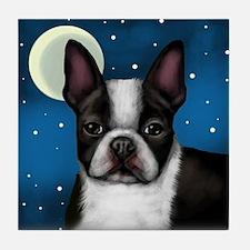 BOSTON TERRIER DOG MOON Tile Coaster