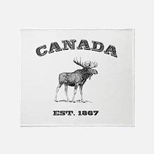 Canadian Moose Throw Blanket