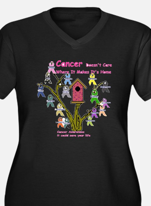 Cancer dosnt care where it gr Women's Plus Size V-