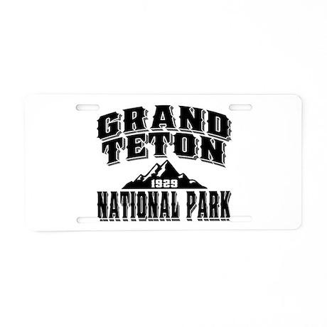 Grand Teton Old Style Black Aluminum License Plate