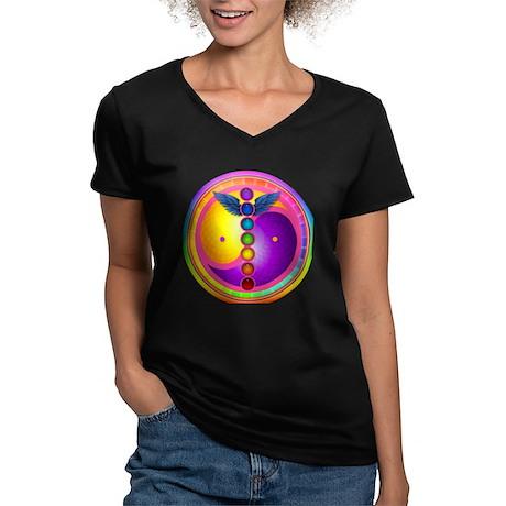 Chakra Mandala Women's V-Neck Dark T-Shirt