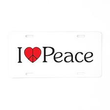 I HEART (Love) Peace Aluminum License Plate