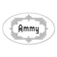 """Celtic Knots Ammy"" Oval Stickers"