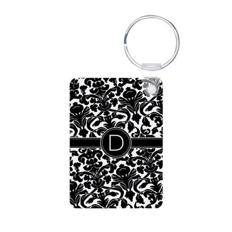 Damask Monogram B/W Centered Aluminum Photo Keycha