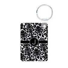Damask Monogram B/W Centered Keychains