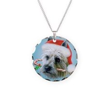 Carin Terrier Christmas Necklace Circle Charm