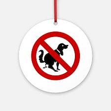 No Dog Poop Sign Ornament (Round)