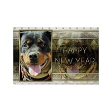 New Year - Golden Elegance - Rottie Rectangle Magn