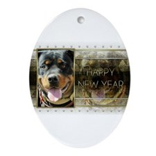 New Year - Golden Elegance - Rottie Ornament (Oval