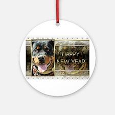 New Year - Golden Elegance - Rottie Ornament (Roun