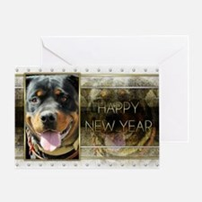 New Year - Golden Elegance - Rottie Greeting Card