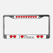 I HEART (Love) Peace License Plate Frame