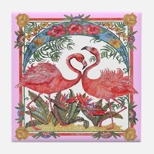 Tropical Flamingos Retro Art Tile Coaster