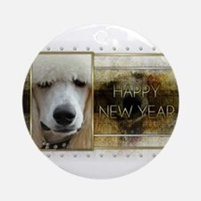 New Year - Golden Elegance - Poodle Ornament (Roun