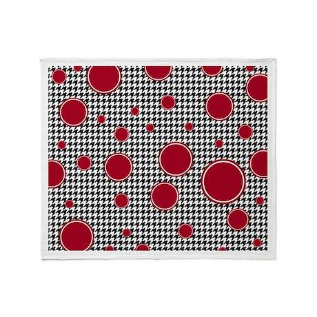 Houndstooth & Crimson Throw Blanket