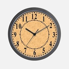 Tan Parchment Look Wall Clock