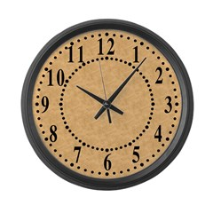 Tan Parchment Look Large Wall Clock