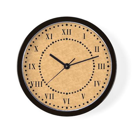 Tan Parchment Roman Numeral Wall Clock