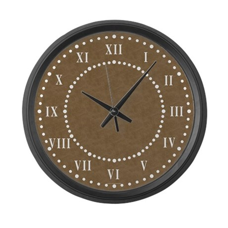 Brown Parchment Roman Numeral Large Wall Clock