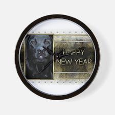 New Year - Golden Elegance - Labrador Wall Clock