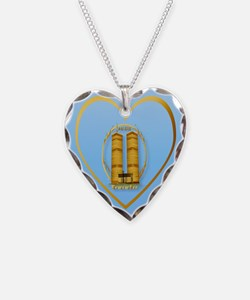 Gold Twin Towers Oval-lettere Necklace