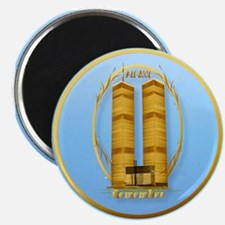 Gold Twin Towers Oval-lettere Magnet