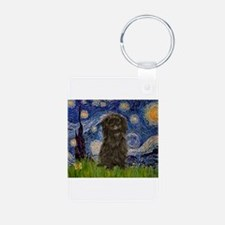 Starry Night / Affenpinscher Aluminum Photo Keycha